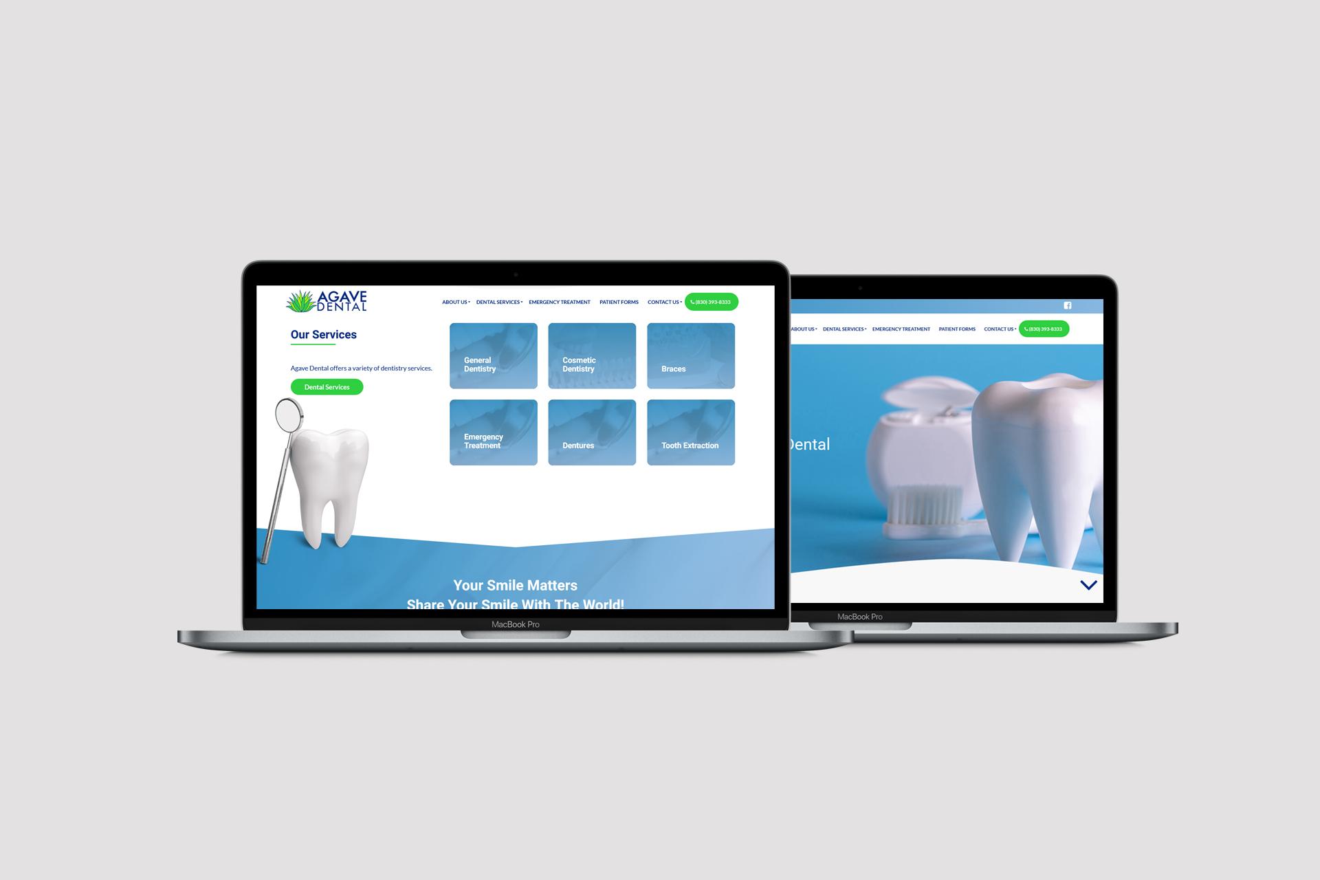 Agave Dental desktop website screenshots on MacBooks
