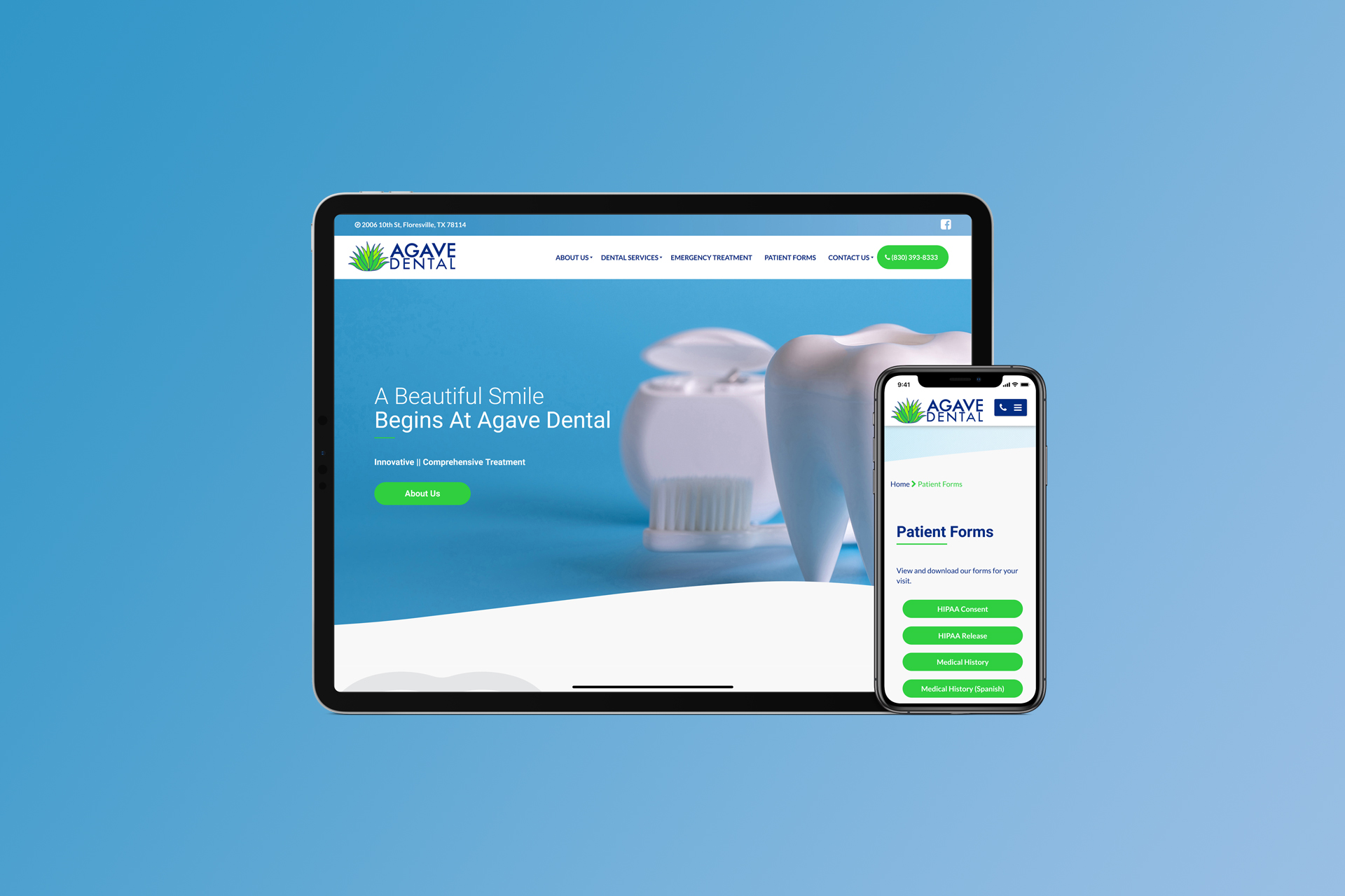 Agave Dental mobile website screenshots on iPhone and iPad