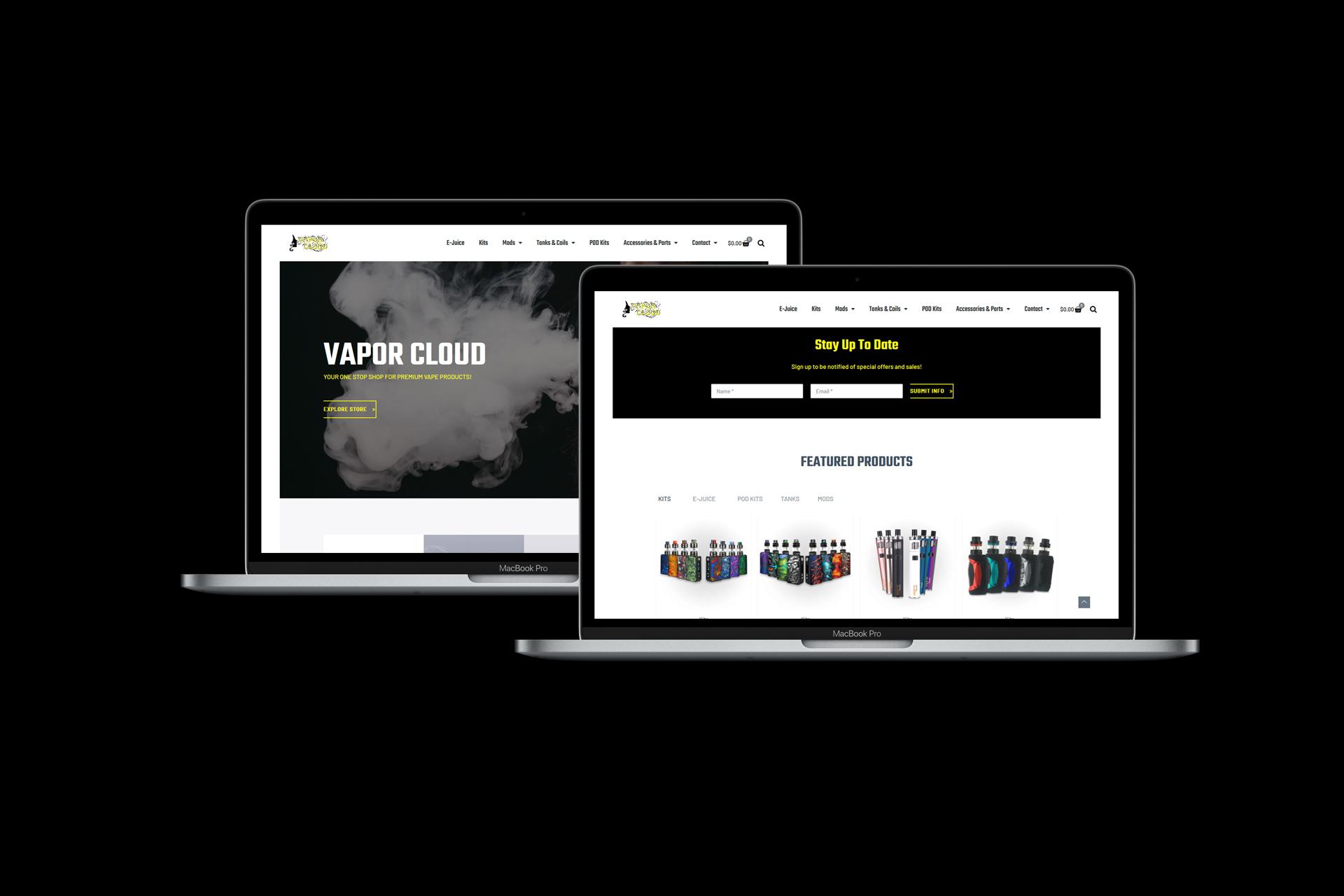 Vapor Cloud desktop website screenshots on MacBooks