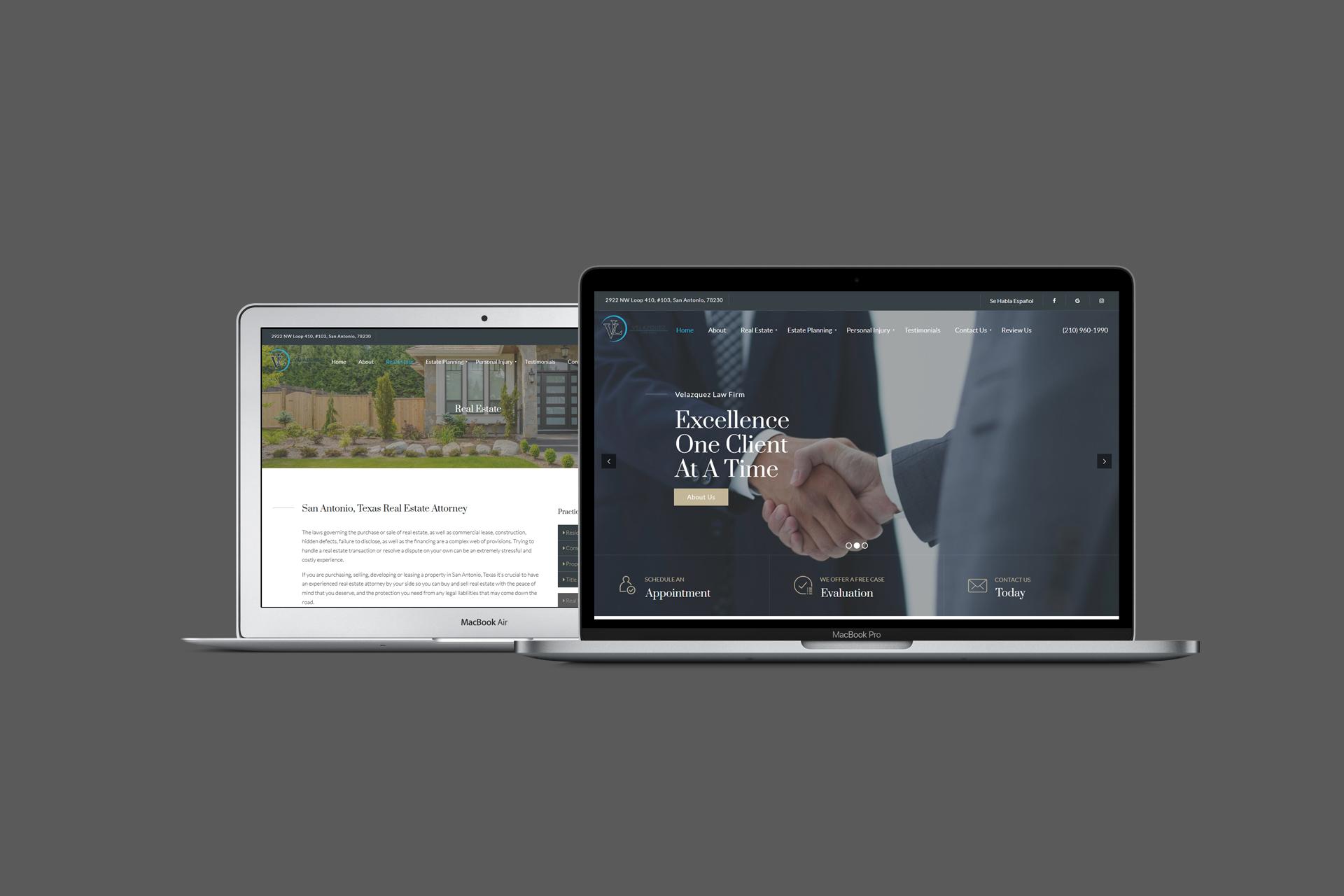 Velazquez Law Firm desktop website screenshots on MacBooks